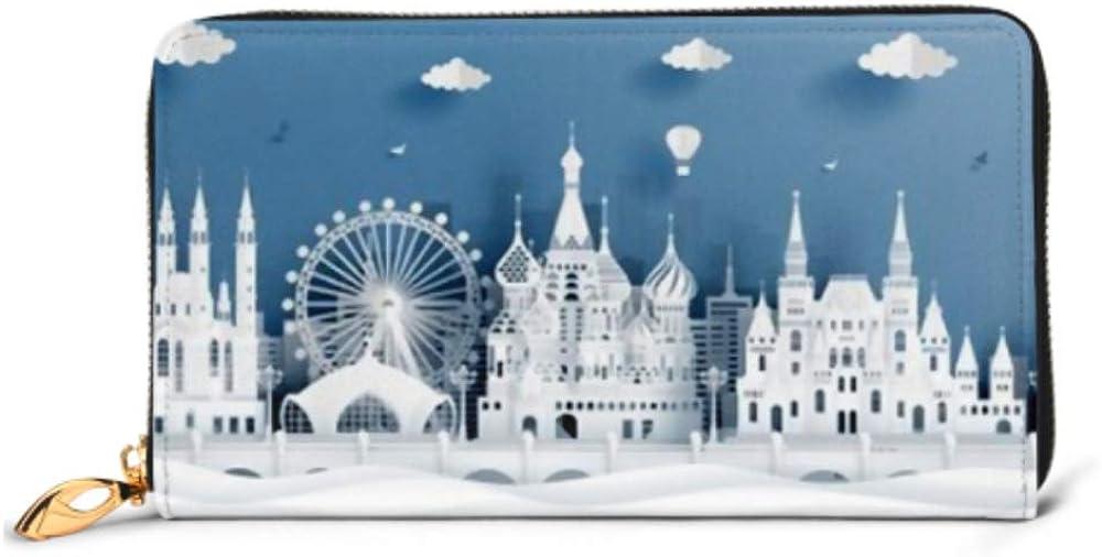 Fashion Handbag Zipper Wallet Panorama Postcard Travel Poster World Famous Phone Clutch Purse Evening Clutch Blocking Leather Wallet Multi Card Org