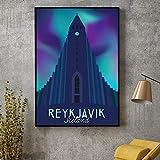 VVSUN Reykjavik Reise Leinwand drucken Wandkunst Poster
