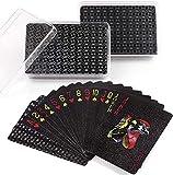 LotFancy 2 Decks Jeux de Cartes de Poker Étanches Plastique Luxe Impermeable PVC Flexible Diamant Noir, Idéal pour Outil de compétences Classic Magic Poker, Fête, Cadeau, Jeux dans la Piscine Plage