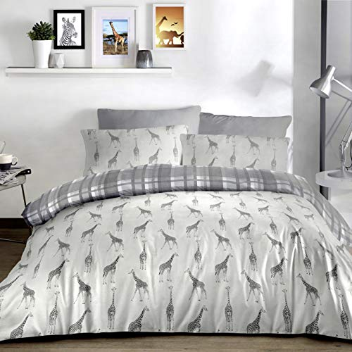 Fusion - Giraffe - Easy Care Duvet Cover Set - King Bed Size in Charcoal