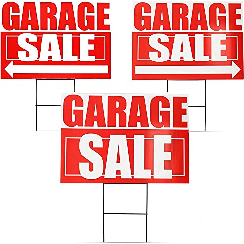 Juvale 6-Pack Garage Sale Yard Lawn Signs with Stakes, 3 Designs, 12 x 17 Inches