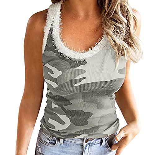 Tshirt Damen Sommer Tank Tops Blusen Schulterfrei Oberteile Damen Elegant Drucken Weste Top Shirt Bluse Ärmellos Tshirt Damen Fitness Bluse Teenager Mädchen Basic Tshirts M
