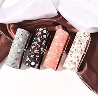 AuCatStore(TM) Floral Cloth Lipstick Case Holder with Mirror Inside & Snap-On Closure RH
