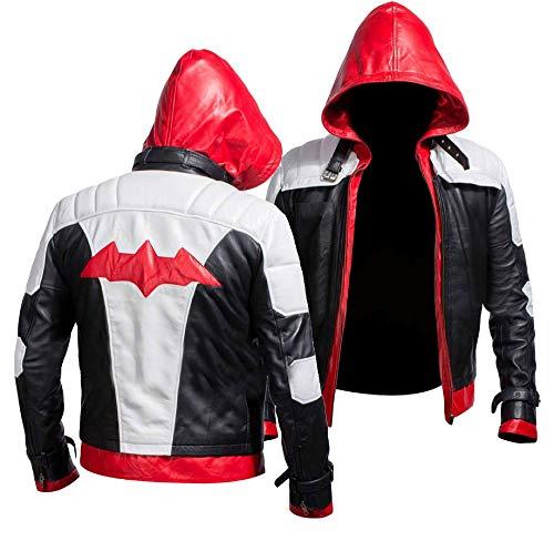 Herren Jason Todd Batman Arkham Knight Fledermaus Logo rote Kapuze schwarz & weiß Kostüm Kunstleder Jacke Biker-Lederjacke Batman-Kostüm Cosplay Herren Jacke Gr. XL, rot