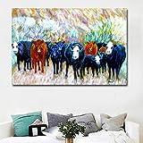 N / A Animal idílico Que Pinta el Mural de Acuarela característico de Buffalo, Utilizado para la decoración del hogar Pintura Carteles sin Marco 30x45 cm