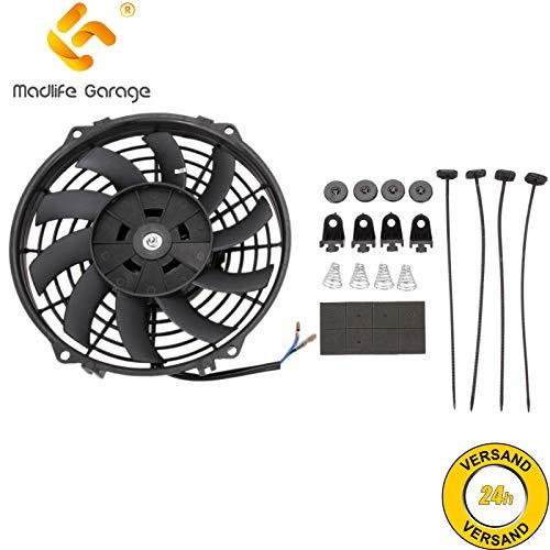 Madlife Garage Ventilador de refrigeración de motor eléctrico universal de 9 pulgadas, 12 V, 80 W, de línea delgada