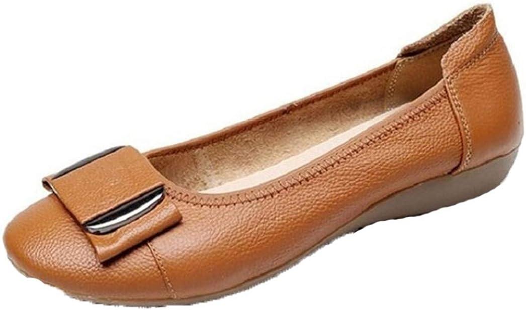 Zapatillas de Ballet para Mujer Moda Metal Decoraci/ón Costura Cuero Antideslizante en Punta Redonda Zapatos Individuales Ocasionales Color s/ólido Tama/ño Grande 42 Mocasines para Mujer
