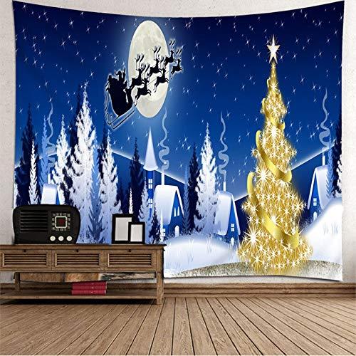 BATOHOME Navidad Bebe Niño, Tapiz Yoga Grande Casa del árbol de Navidad Tapiz Oscuro, Papel Tapiz Juvenil 260x240CM
