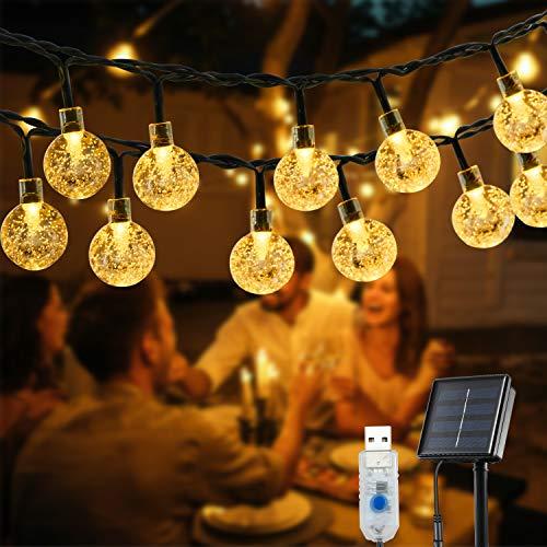 Solar Lichterkette Aussen, OxyLED 59 Ft 100 LED Lichterkette Außen Solar Kristall Kugeln wasserdicht solar / USB-Steckernetzteil Lichter Beleuchtung 8 Modi für Garden, Balkon, Party, Terrasse