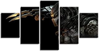 BAOJIAN 5 Canvas Painting Living Room Wall Art Painting 5 Panel Alien Vs Predator Movie Pictures HD Printed Canvas Paintin...