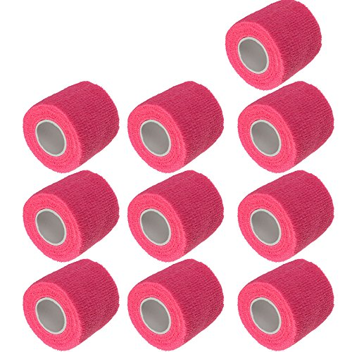 ESUPPORT 2 Inches X 5 Yards Self Adherent Cohesive Wrap Bandages Strong Elastic First Aid Tape for Wrist Ankle Pink Pack of 10