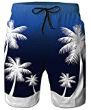 Loveternal Adult SwimTrunks Quick Dry 3D Print Graphic Blue Hawaiian Board Shorts for Men with LiningPalm Trees Water Shorts Casual SurfShorts Bathing Suit S