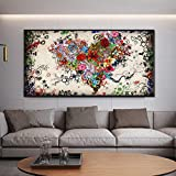 Pintura abstracta colorida póster en forma de corazón sobre lienzo moderno con flores e imágenes de arte en la pared