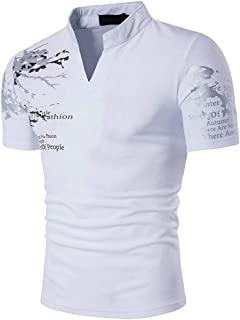 22a1468601 Mens Casual V-Neck Button Slim Muscle Tops Tee Short Sleeve T- Shirts  Fashion
