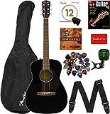 Fender CC-60S Concert Acoustic Guitar - Black Bundle with Gig Bag, Tuner, Strap, Strings, Picks, Fender Play...