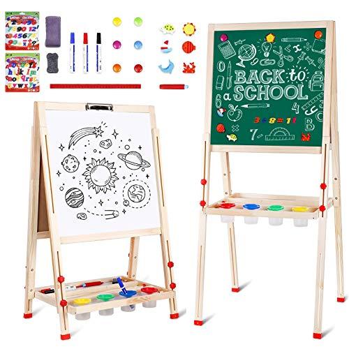 amzdeal Kindertafel, Magnet Staffelei, Doppelseitige Standtafel für Kinder von 3 bis 8, Höhenverstellbar von 80 bis 145 cm, Weiß/Schwarze Tafel mit Papier Rollen Halter, Holz