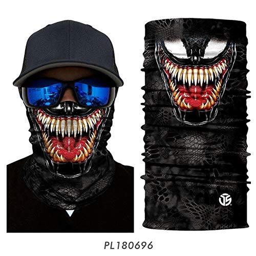 Berrd 3D Seamless Venom Magic Bandana Polaina para el Cuello Summer Thin Tubular Ring Bufandas Sun Guard Face Diadema Bufanda Bicicleta Headwear - PL180696,48CMX24CM