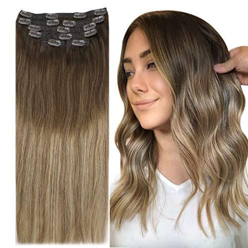 YoungSee 7pcs/120g Clip Extension Cheveux Naturel - Marron Foncé Ombre Brun Doré mixte Blond Doré #4/10/16 - Hair Extension Clip in Naturel Human Hair 24Pouces