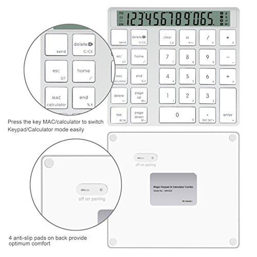 Cateckアルミニウム製電卓機能付きワイヤレス28キーのスマートテンキー/数字キーッパッド、MacとPC向けのデザイン(充電式)