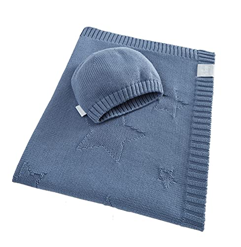 sei Design Manta para bebé, saco de dormir, manta para bebé o manta para envolver al bebé, cochecito y cochecito, 100% algodón (estrellas Denim)