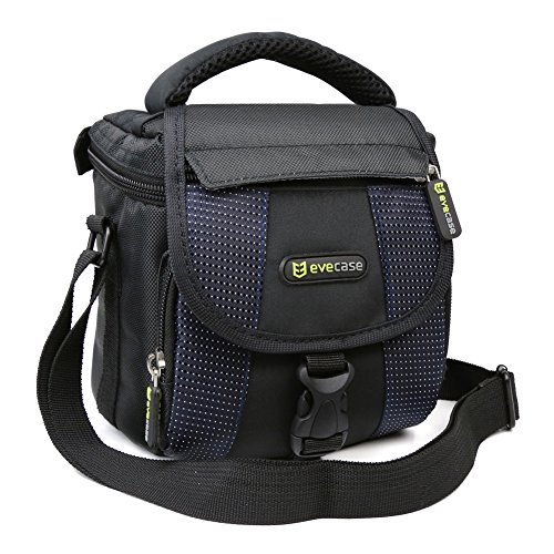 Evecase Small Camera Shoulder Bag, Travel Compact Padded Crossbody Case for Sony Nikon Canon DSLR Mirrorless Instant Cameras Lens and More Accessories - Black