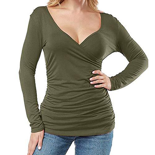 Reooly❤Femmes Open V Avant Wrap plissé Slim Top Tee à Manches Longues T-Shirt froncéTee Shirt Manches Longues Femme col V Manches Longues de Couleur Unie Top Green XL