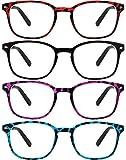 Yogo Vision Reading Glasses 4 Pack Tortoise Colors Retro Eyeglasses for Reading for Women +4