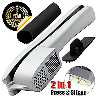 GiniHome Garlic Press & Slicer 2 in 1 Garlic & Ginger Mincer, Cleaner and Silicone Tube Peeler - Slicing and Grinding Friendly, Easy To Clean And Highly Durable.