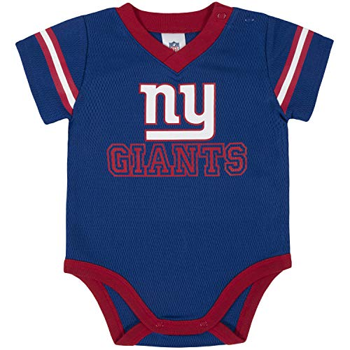 NFL New York Giants Team Jersey Bodysuit, red/White/Blue New York Giants, 3-6 Months