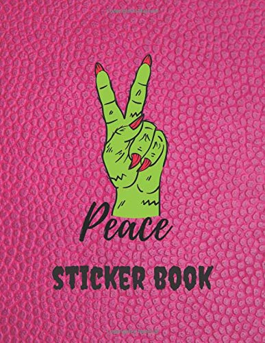 Green zombie peace sign blank sticker book | Sticker collecting album Gift for children: Premium Cover Activity Book for drawing with Empty papers to put in stickers
