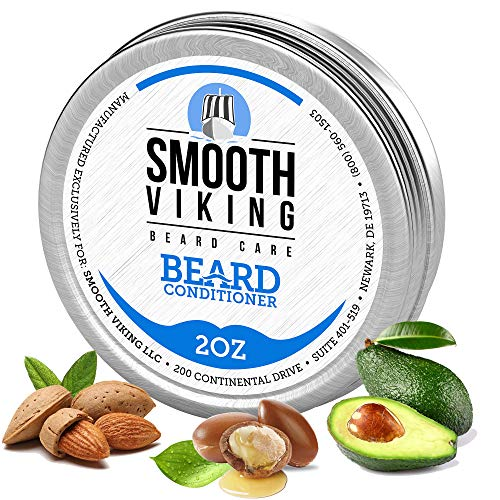 Smooth Viking Beard Conditioner for Men - Nourishing Beard Softener with Essential Oils and Shea Butter - Soothing Beard Care Balm for Softer Facial Hair - Beard Growth Kit and Grooming Products - 2oz