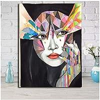 アートパネル ZXYFBH 抽象的なカラフルな女性の壁アートキャンバスポスタープリントオフィスの寝室の絵画の写真現代の家の装飾アクセサリー23.6x31.5in(60x80cm)x1pcsフレームなし