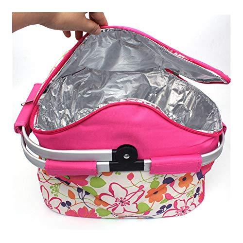 HDS Sac pique-nique panier Thermos barbecue pliant pack de glace boîte alimentaire grand camping épicerie fourre-tout thermique plegable portable (Color : Pink)