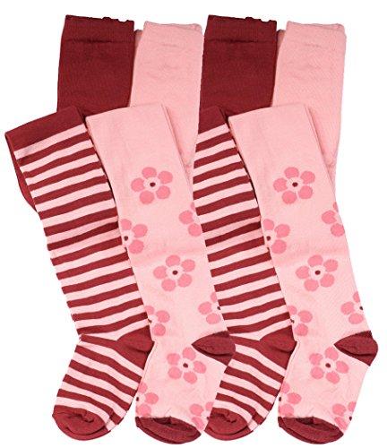 VCA 4er Set Kinder Strumpfhosen mit Blumen und Ringel-Muster, Baumwolle (Öko-Tex Standard 100 Zertifiziert)
