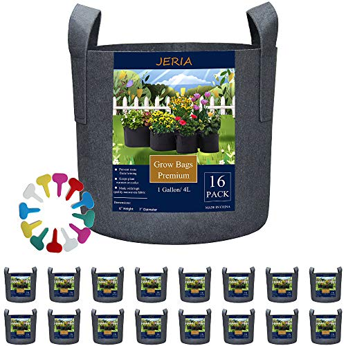 JERIA 16-Pack 1 Gallon Grow Bags, Heavy Duty Thickened Nonwoven Fabric Pots Container with Reinforced Handles, Vegetable/Flower/Plant Grow Pots Come with 16 Pcs Plant Labels