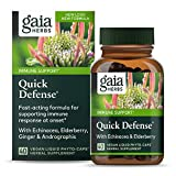 Gaia Herbs, Quick Defense, Fast-Acting Immune Support, Echinacea, Ginger Root, Sambucus Black Elderberry, Vegan Liquid Phyto Capsules, 40 Count