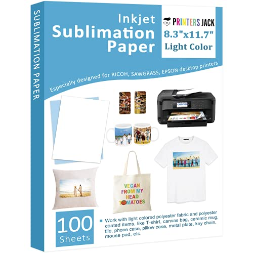Sublimation Paper - Heat Transfer Paper 100 Sheets 8.3' x 11.7' for Any Epson HP Canon Sawgrass Inkjet Printer with Sublimation Ink for T shirt Mugs DIY