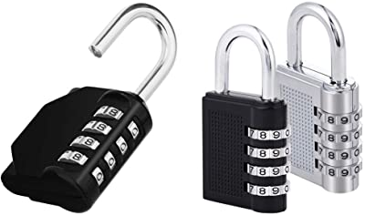 ZHEGE Combination Lock, 4 Digit Outdoor Padlock for School, Gym & Employee Locker, Outdoor, Fence