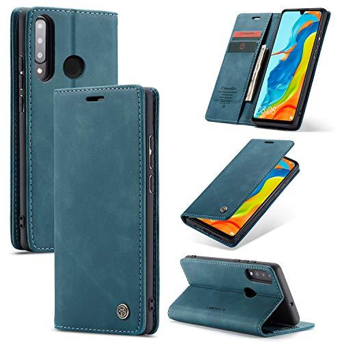Keteen Funda para Huawei P30 Lite Carcasa, Funda clásica de Cuero Piel Huawei P30 Lite. Concha Interna de TPU. Tarjetero, Soporte Plegable, Cuero Magnético Funda para Huawei P30 Lite, Azul