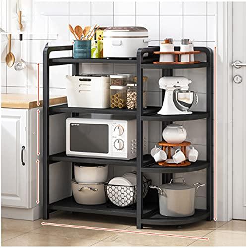 Estanterías Cocina Hogar Microondas Microondas Suministros de almacenamiento Rack Hogar Multi-capa Cocina Refrigerador Rack Rack black4-106CM
