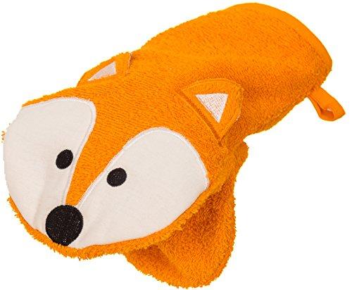 Smithy Waschhandschuh und Handpuppe als Fuchs aus 100% Baumwolle – Öko Tex 100 zertifizierter Waschlappen in orange mit aufwendiger Fuchs Applikation