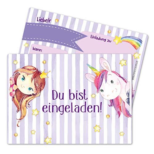 Papierdrachen 12 Einladungskarten zum Kindergeburtstag für Mädchen - Motiv Fee und Einhorn - Geburtstagseinladungen für Deine Geburtstagsparty (DIN A6 mit abgerundeten Ecken)