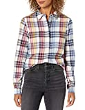 Goodthreads Brushed Flannel Popover Shirt Button-Down-Shirts, Cuadros Multicolor, US S (EU S - M)