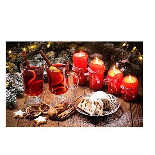 N / A Weihnachtskuchen Kerze Trinken Skandinavische Leinwand Malerei Plakate und Drucke Küche Wandkunst Essen Bilder Wohnzimmer Schlafzimmer Küche rahmenlose dekorative Malerei Z73 30x40cm