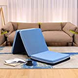 Smile Back Tri-Folding Memory Foam Mattress Topper, Blue, Single Size, Folding Mattress, Play Mat, Foldable Guest Bed, Portable Bed for Stayover, Camping [75 x 25 x 4 Inch]