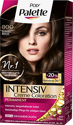 Poly Palette Intensiv Creme Coloration, 800 Dunkelbraun Stufe 3, 3er Pack (3 x 115 ml)