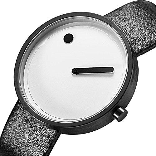 Dilwe Armbanduhr Uhr Frauen Dame Schmuckuhr Quartz Movement Round Dial Legierungs Elegante Uhr PU-Bügel (Weiß)