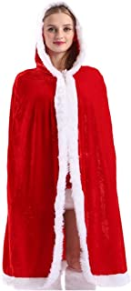 Christmas Cape Red Xmas Costume Santa Hooded Cloak Winter Holiday Outwear