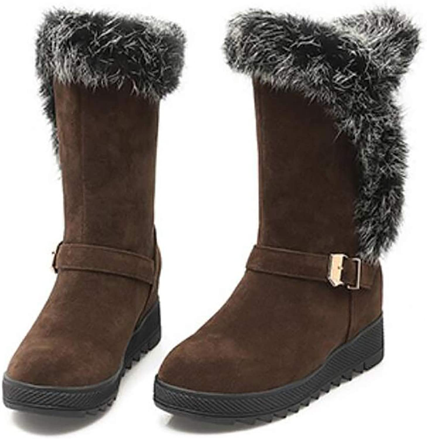 Warm Snow Boots for Women Thickened Plush Lining Matte Winter Boot,Brown,34