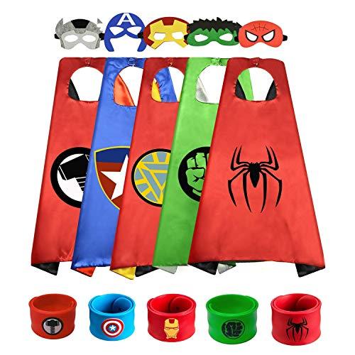 5pc Capas de Superhéroe para Niños - 5 Capa y 5 Máscaras 5 Pulsera de Silicona - Ideas Kit de Valor de Cosplay de Diseño de Fiesta de Cumpleaños de Navidad - Juguetes para Niños y Niñas Capes (5PCS)